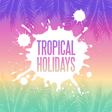 stippled: Tropical summer holidays background. Palm tree leaves with stipple effect at colorful sunset gradient