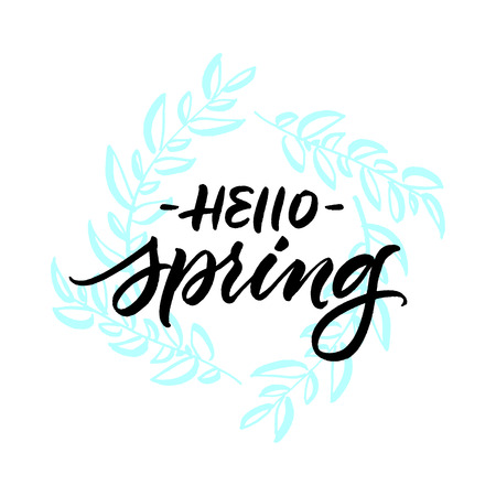 Hello spring greeting card with handwritten brush calligraphy on hand drawn leaves wreath