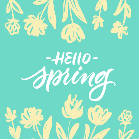 Hello Spring greeting card with green background and yellow hand drawn flowers
