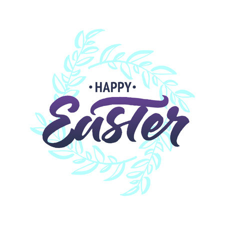 Happy Easter greeting card with brush lettering and hand drawn spring wreath isolated on white background