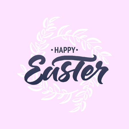 Happy Easter greeting card with brush lettering and hand drawn spring wreath on pink background 向量圖像