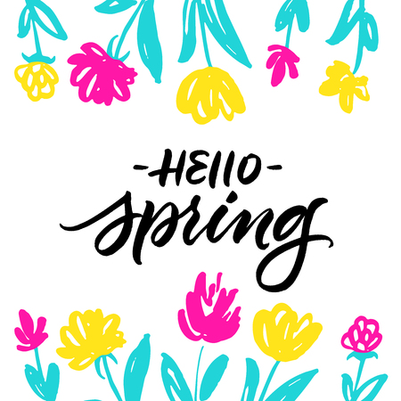 Hello Spring greeting card with colorful hand drawn flowers isolated on white background