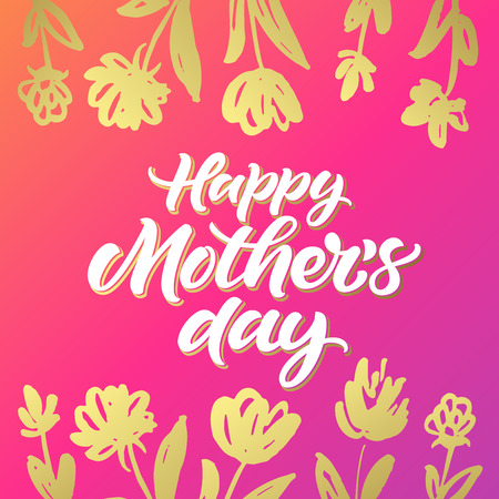 Happy Mothers Day greeting card with golden hand painted flowers on bright pink background 向量圖像