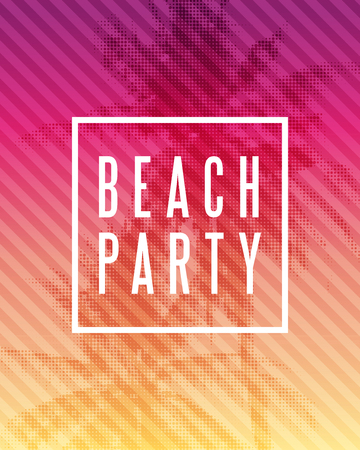 red sunset: Tropical summer beach party poster design. Illustration of palm trees with halftone effect on striped colorful sunset background