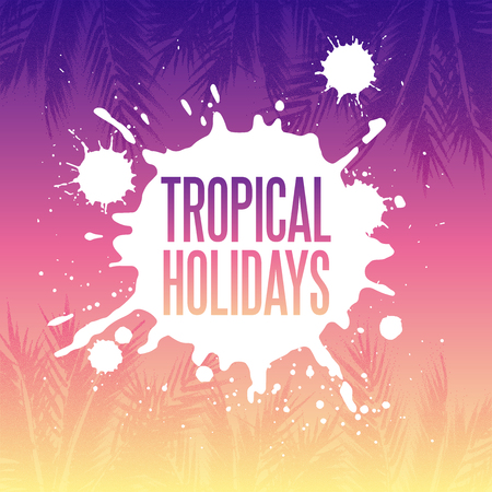 Tropical holidays illustration. Palm tree leaves with stipple effect at colorful sunset gradient background