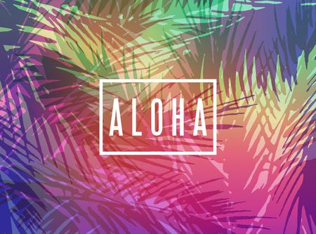 Aloha Hawaii greeting card. Colorful tropical summer background with palm tree leaves at sunset
