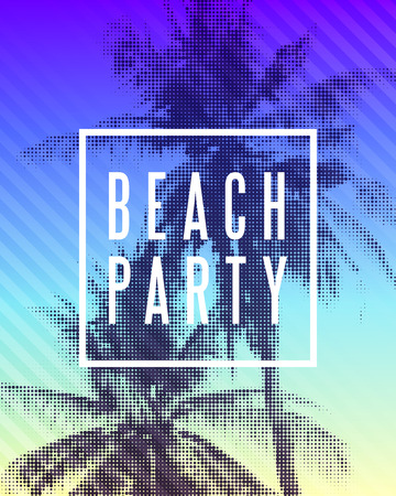 Tropical beach party poster design. Illustration of palm trees with halftone effect on striped colorful sunset background