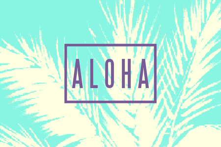 Aloha Hawaii tropical illustration. Palm tree leaves with halftone effect on green background