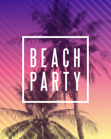 Tropical summer beach party poster design. Illustration of palm trees with halftone effect on striped colorful sunset background