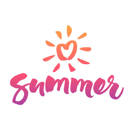 Love Summer brush calligraphy and sun icon. Vector hand lettering isolated on white background. 向量圖像