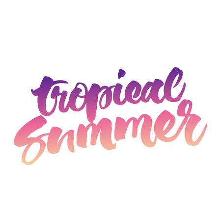 Tropical Summer hand lettering. Vector brush calligraphy isolated on white background.