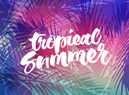 Tropical summer background. Vector brush calligraphy on colourful abstract palm tree leaves illustration.