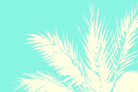 Abstract tropical summer background. Illustration of palm trees leaves with halftone effect.