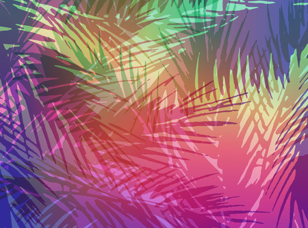 Abstract tropical summer background. Colorful illustration of palm trees leaves.