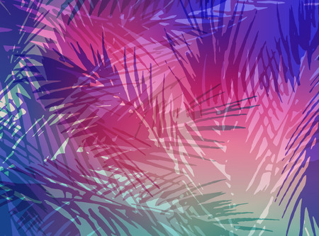 Abstract tropical summer background. Colorful illustration of palm trees leaves. 版權商用圖片 - 81561549