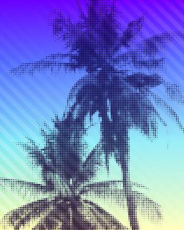 Tropical paradise background. Colorful illustration of palm trees with halftone effect.