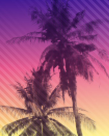 Tropical paradise background. Colorful illustration of palm trees with halftone effect. 版權商用圖片
