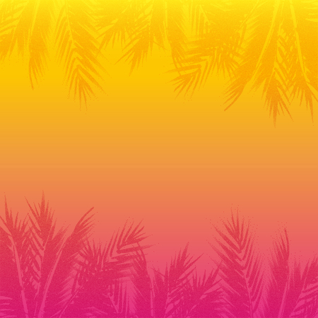beach sunset: Abstract tropical sunset background. Colorful palm trees illustration.