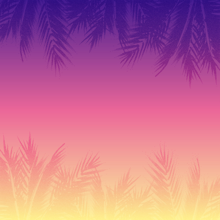 Abstract tropical sunset background. Colorful palm trees illustration.