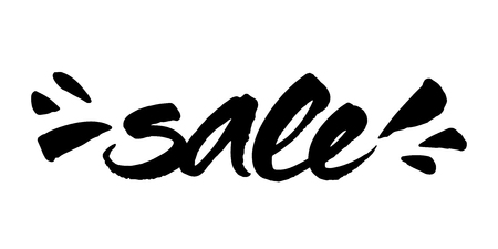 Sale brush lettering. Expressive ink calligraphy with splashes.