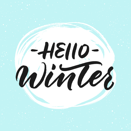 Hello winter greeting card. Handwritten inscription on snow background 版權商用圖片 - 85642787