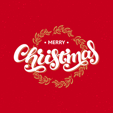Merry Christmas greeting card. Hand drawn inscription on red background with golden wreath. 向量圖像