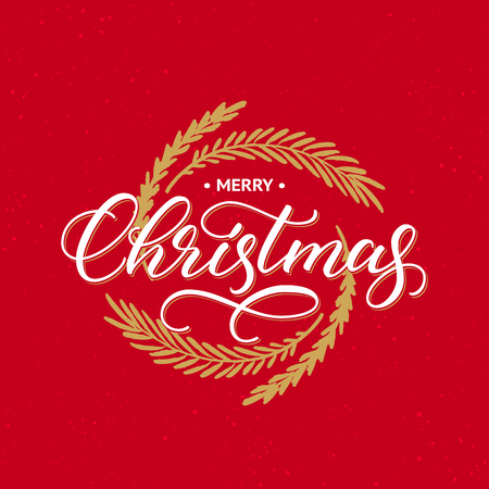 Merry Christmas greeting card. Handwritten calligraphic inscription on red background with golden wreath.