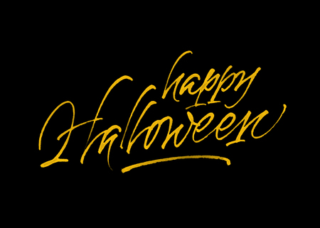 Happy Halloween greeting card. Handwritten modern calligraphy. Yellow hand lettering on black background.