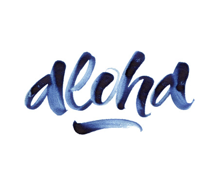 Aloha. Modern brush lettering isolated on white background. 版權商用圖片