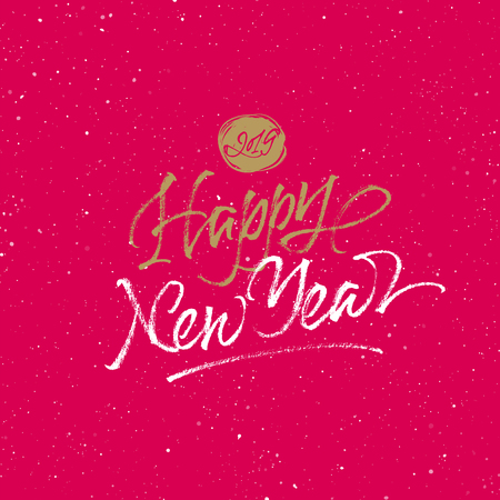 Happy 2019 Chinese New Year greeting card. Handwritten vector golden and white calligraphy on red splattered background.