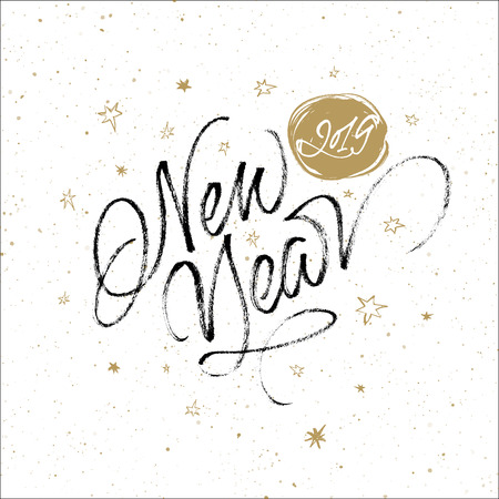Happy 2019 New Year greeting card. Handwritten vector calligraphy on splattered background with stars.