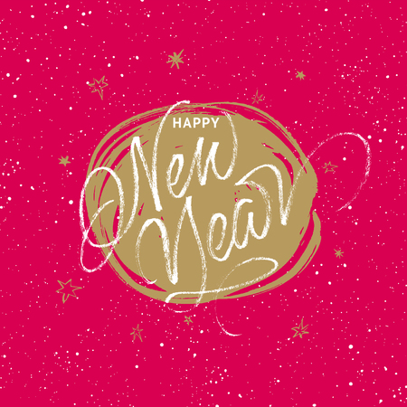 Happy New Year greeting card. Handwritten vector calligraphy on red and golden splattered background with stars.