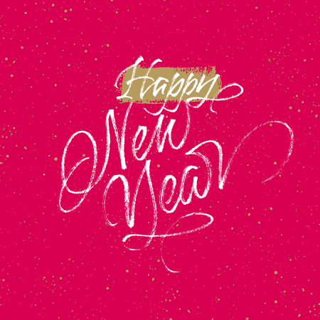 Happy New Year greeting card. Handwritten vector lettering on red and golden splattered background.