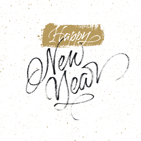 Happy New Year greeting card. Handwritten vector lettering on splattered background.