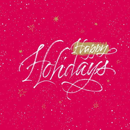 Happy Holidays greeting card. Handwritten vector calligraphy on red and golden splattered background with stars. Çizim