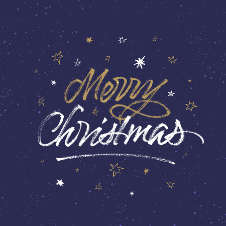 Merry Christmas background. Greeting card with handwritten brush calligraphy. Çizim