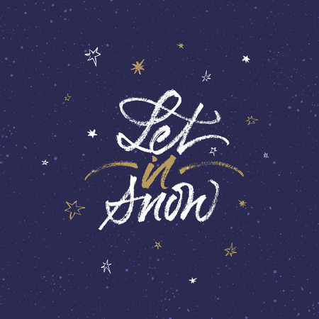 Let it snow Christmas greeting card. Handwritten brush calligraphy on dark blue background with snow and stars. Çizim