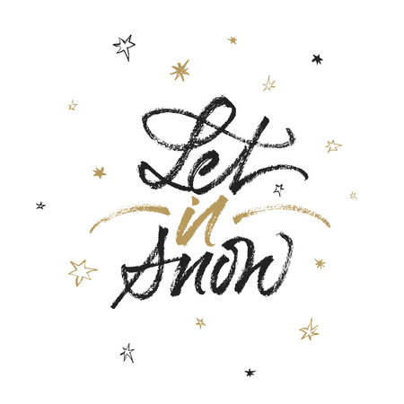 Let it snow isolated calligraphic quote. Vector handwritten brush lettering.