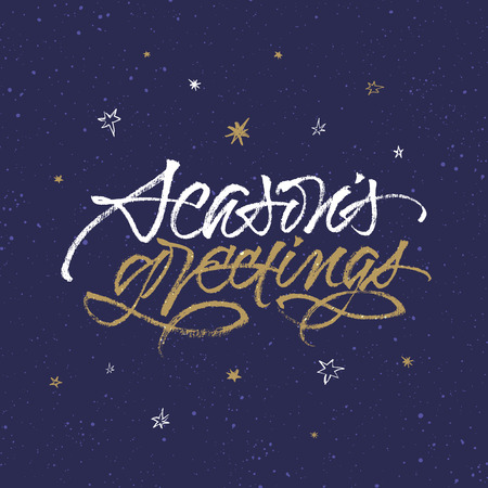 Season's Greetings greeting card. Handwritten brush calligraphy on dark blue background with snow and stars.