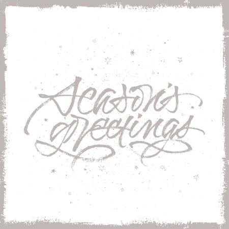 Seasons Greetings handwritten brush calligraphy