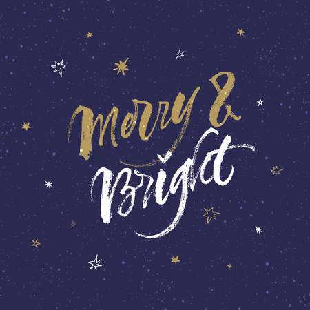 Merry and Bright Christmas greeting card. Handwritten brush calligraphy on dark blue background with snow and stars.