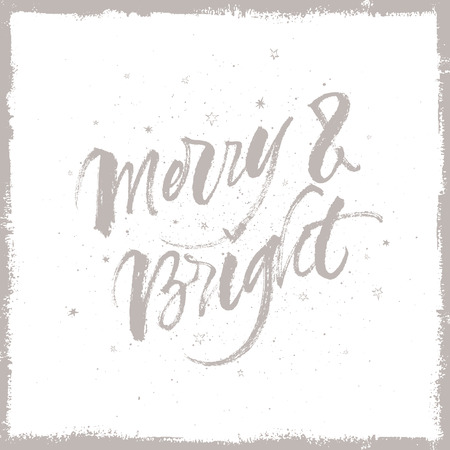 Merry and Bright Christmas quote. Vector handwritten brush calligraphy.