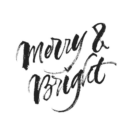 Merry and Bright Christmas quote. Vector handwritten brush calligraphy isolated on white background. Çizim
