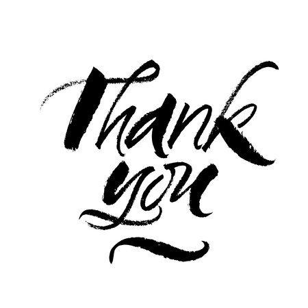 Thank you ink brush calligraphy. Vector handwritten lettering. Isolated on white background. Çizim