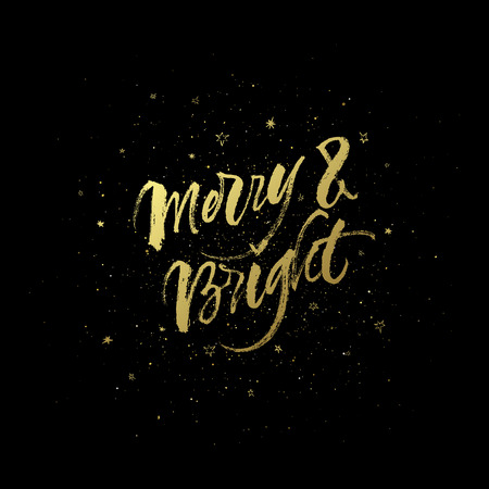 Merry & Bright. Golden Christmas greeting card design. Abstract sparkling star background. Çizim