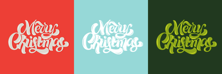 Merry Christmas cards. Vector custom lettering in different color backgrounds.
