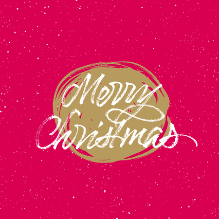 Merry Christmas! Golden and red greeting card. Vector handwritten brush calligraphy. Splattered background.
