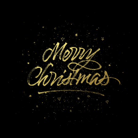 Merry Christmas greeting card. Vector golden background with handwritten calligraphy. Çizim