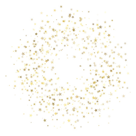 Abstract Christmas and New Year Celebration background with golden sparkling star confetti.