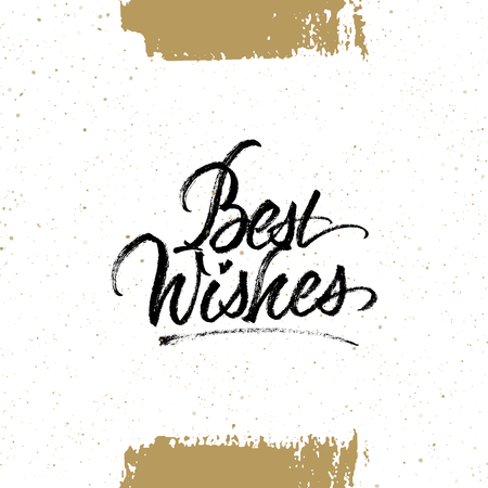 Best wishes brush calligraphy. Christmas and New Year greeting card with handwritten lettering and hand drawn splattered background. Isolated on white. Çizim